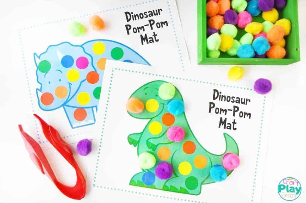 Dinosaur Color mats Dinosaur pom pom mats