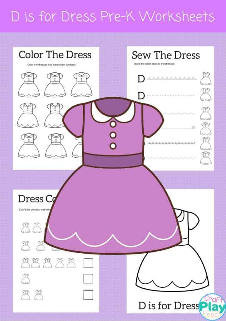 letter D worksheets for kids