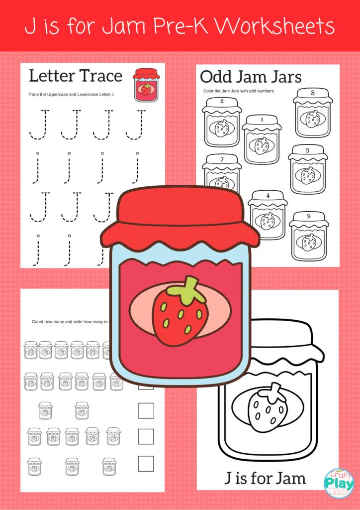letter J worksheets for preschool kids