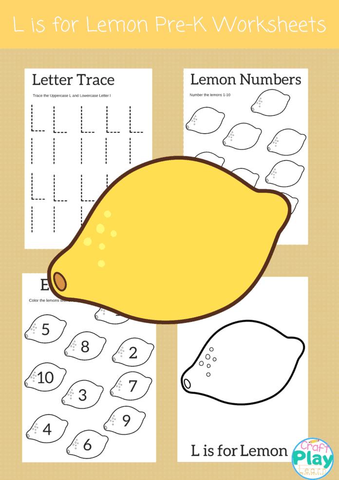 letter L worksheets for preschool kids