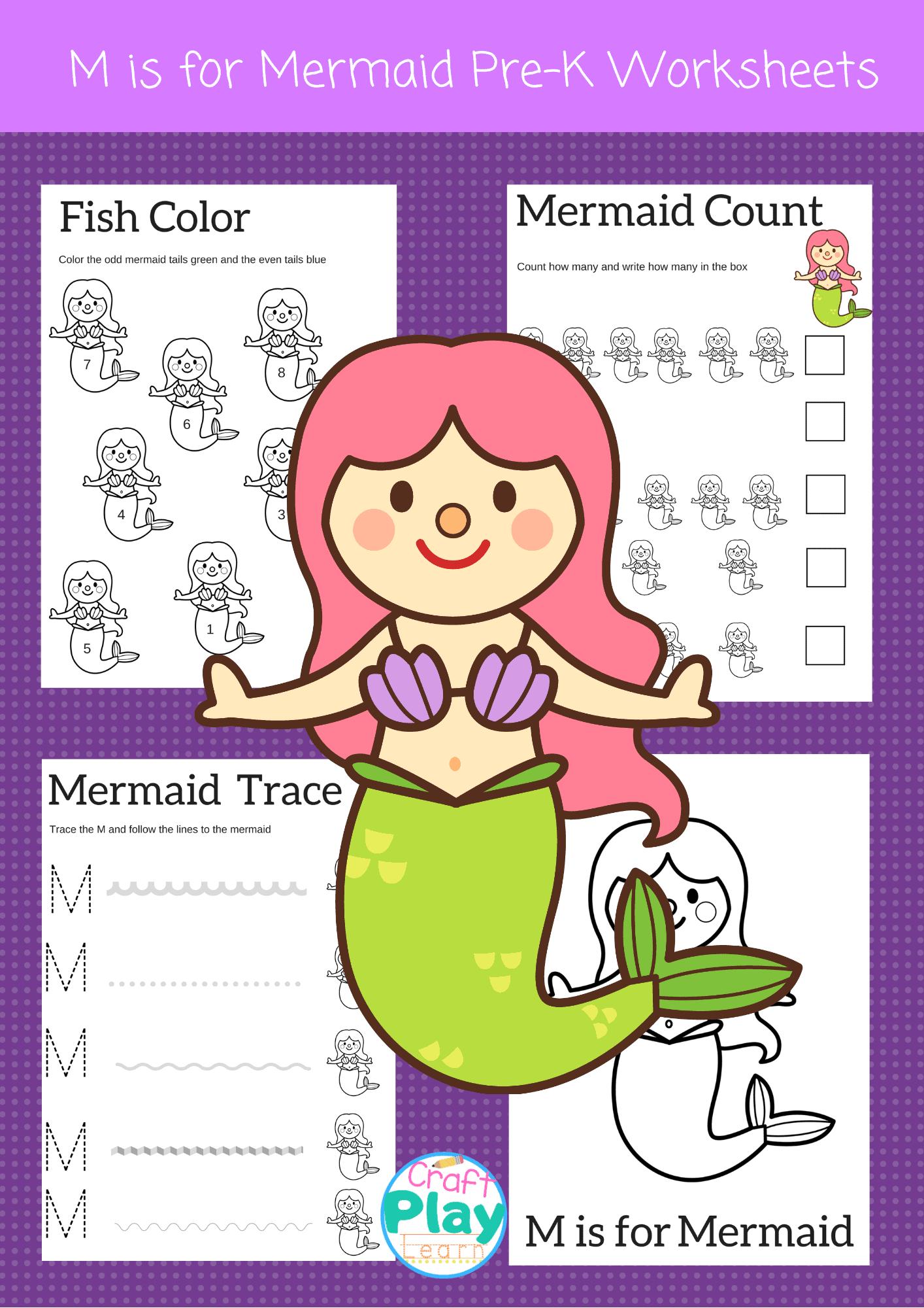 Letter M Worksheets For Preschool Kids And Mermaid ...
