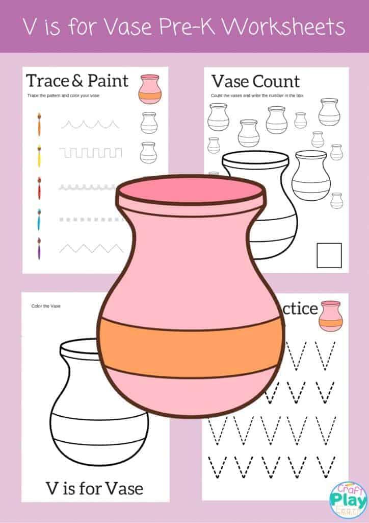 letter v worksheets for preschool kids