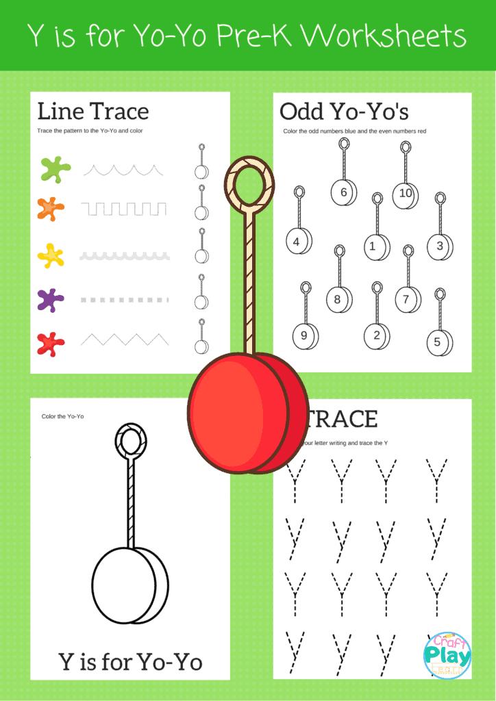 letter y worksheets for preschool kids