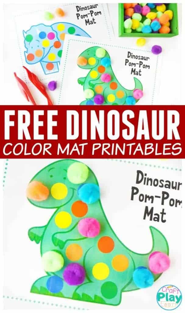 Dinosaur Printable pom pom mats for kids