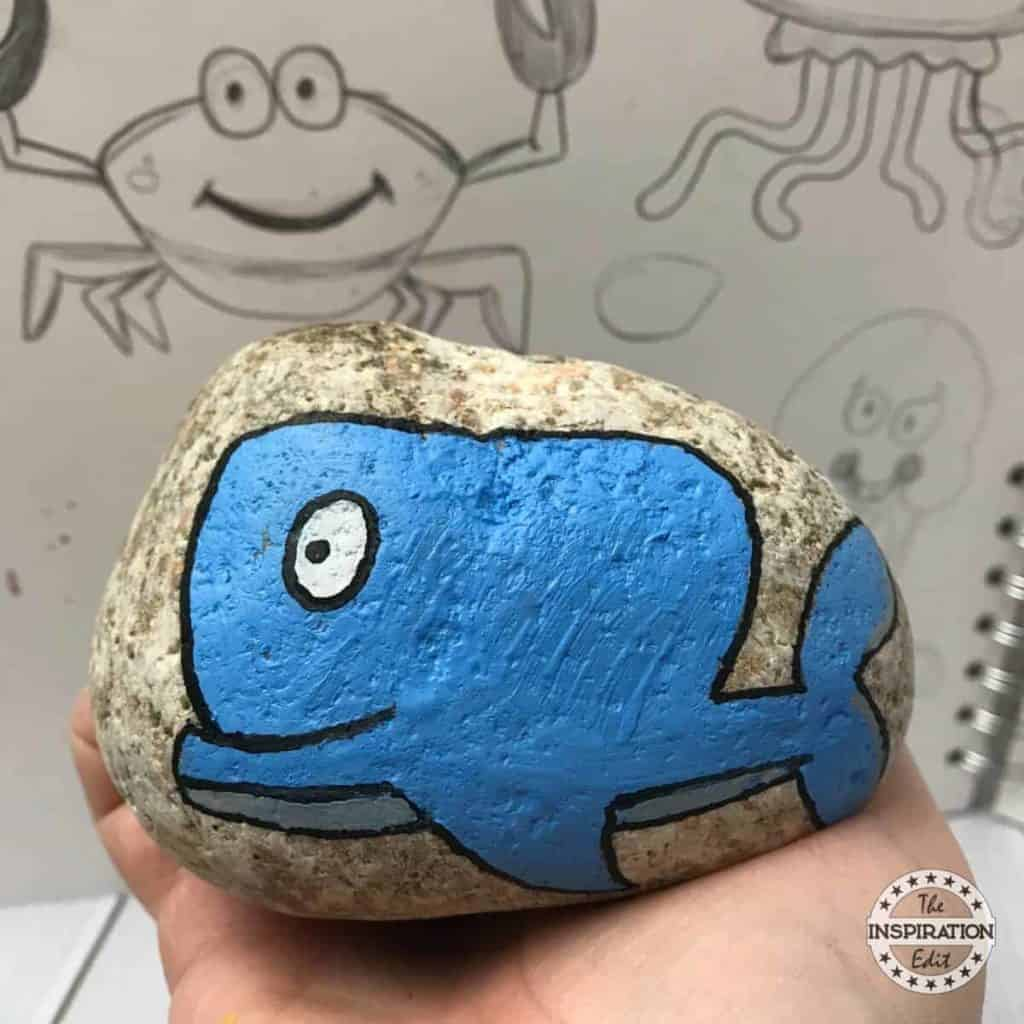 whale painted rock stone