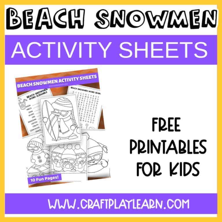 BEACH SNOWMEN ACTIVITY SHEETS