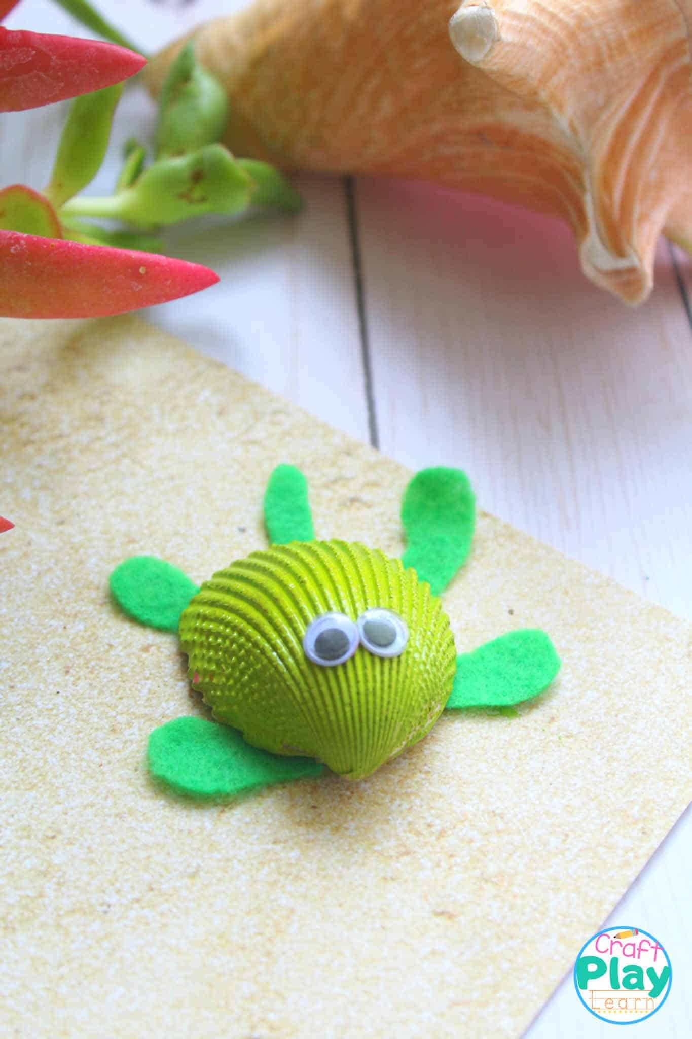 sea turtle craft for kids a shell painted green with googly eyes