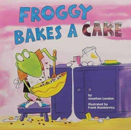 Froggy bakes a cake children's book with a frog character