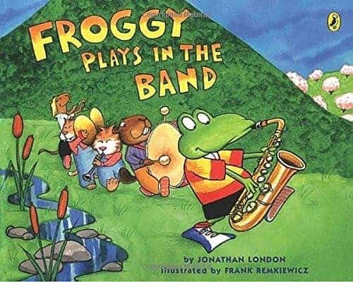 Froggy plays in the band kids book with a frog character