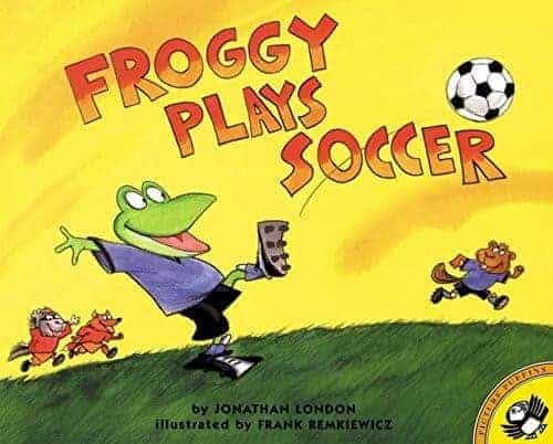 Froggy plays soccer but with a frog character