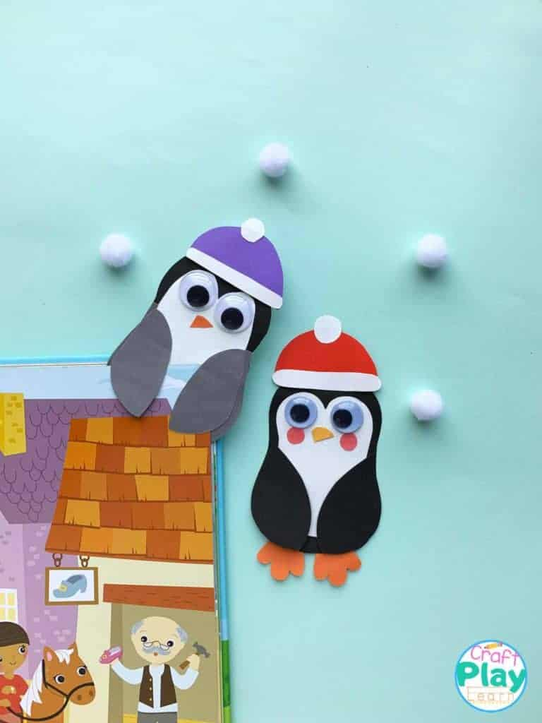 easy penguin bookmark craft idea