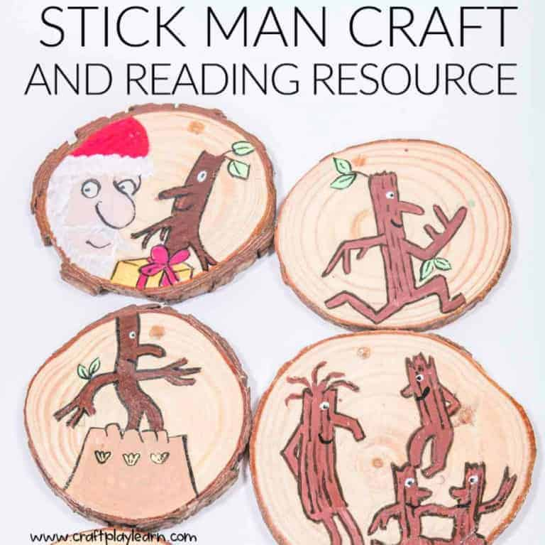 stick man painted on wooden slices