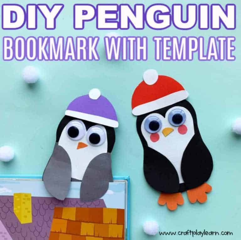 easy penguin bookmark template and craft with step by step process