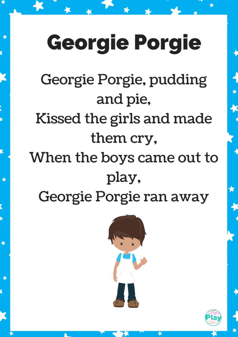 georgie porgie pudging and pie printable