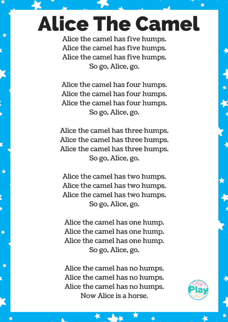 alice the camel lyics and printable