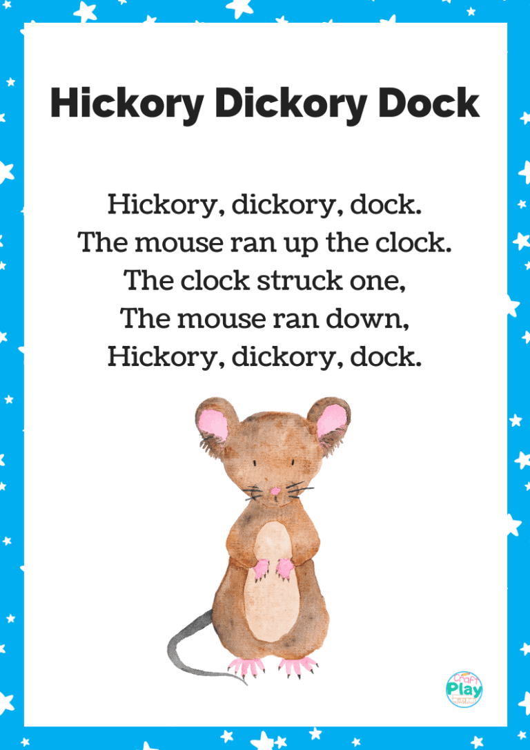 hickory dickory dock song and printable