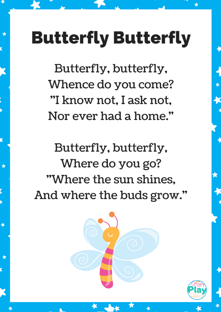 Printable Butterfly Song For Kids Plus Activity Ideas ...