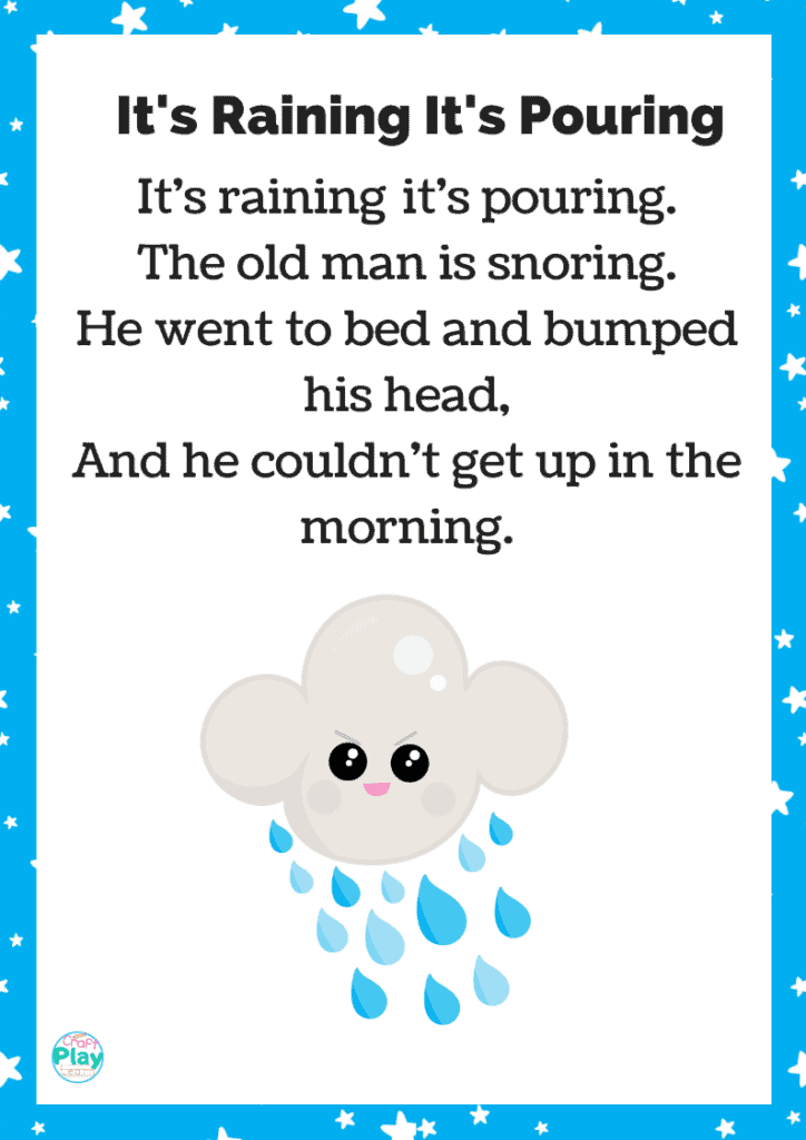 it's raining it pouring printable song sheet