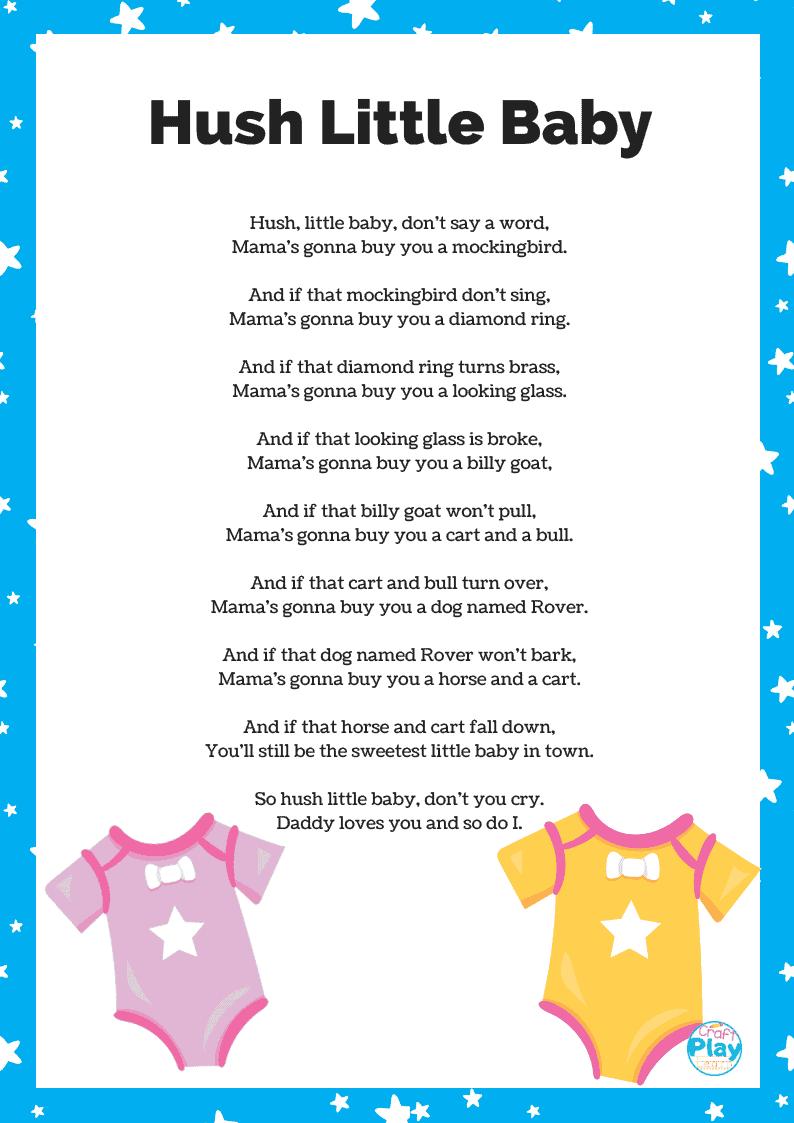 Hush Little Baby Lyrics And Activity Ideas - Craft Play Learn