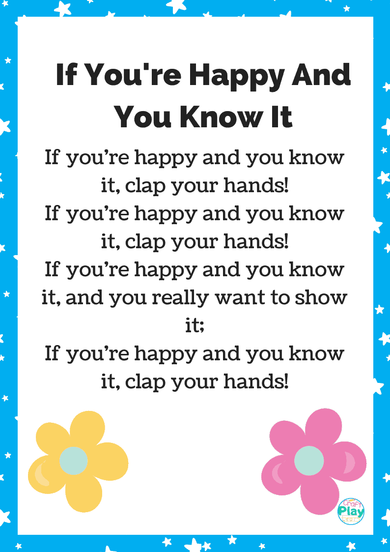 if you're happy and you know it printable lyrics