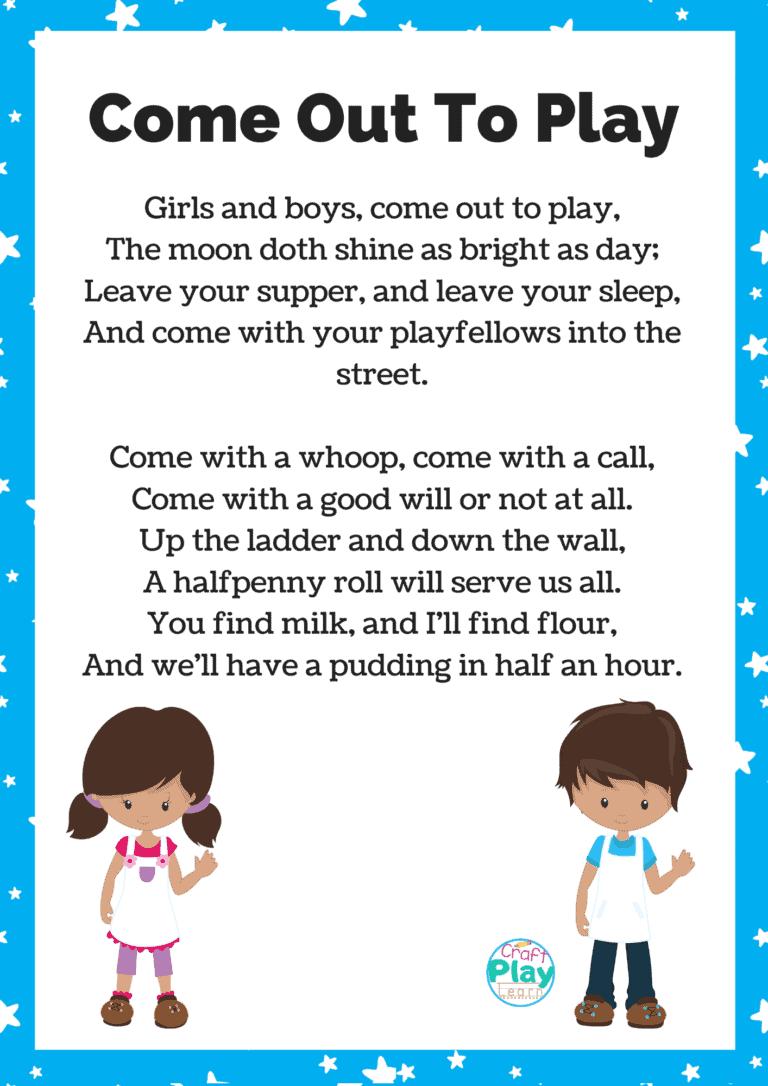 girls and boys come out to play nursery rhyme lyrics and printable