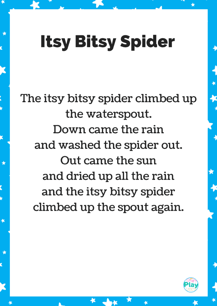 itsy bitsy spider printable