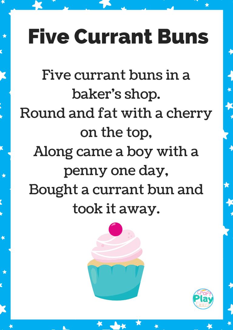 five currant buns nursery rhyme printable
