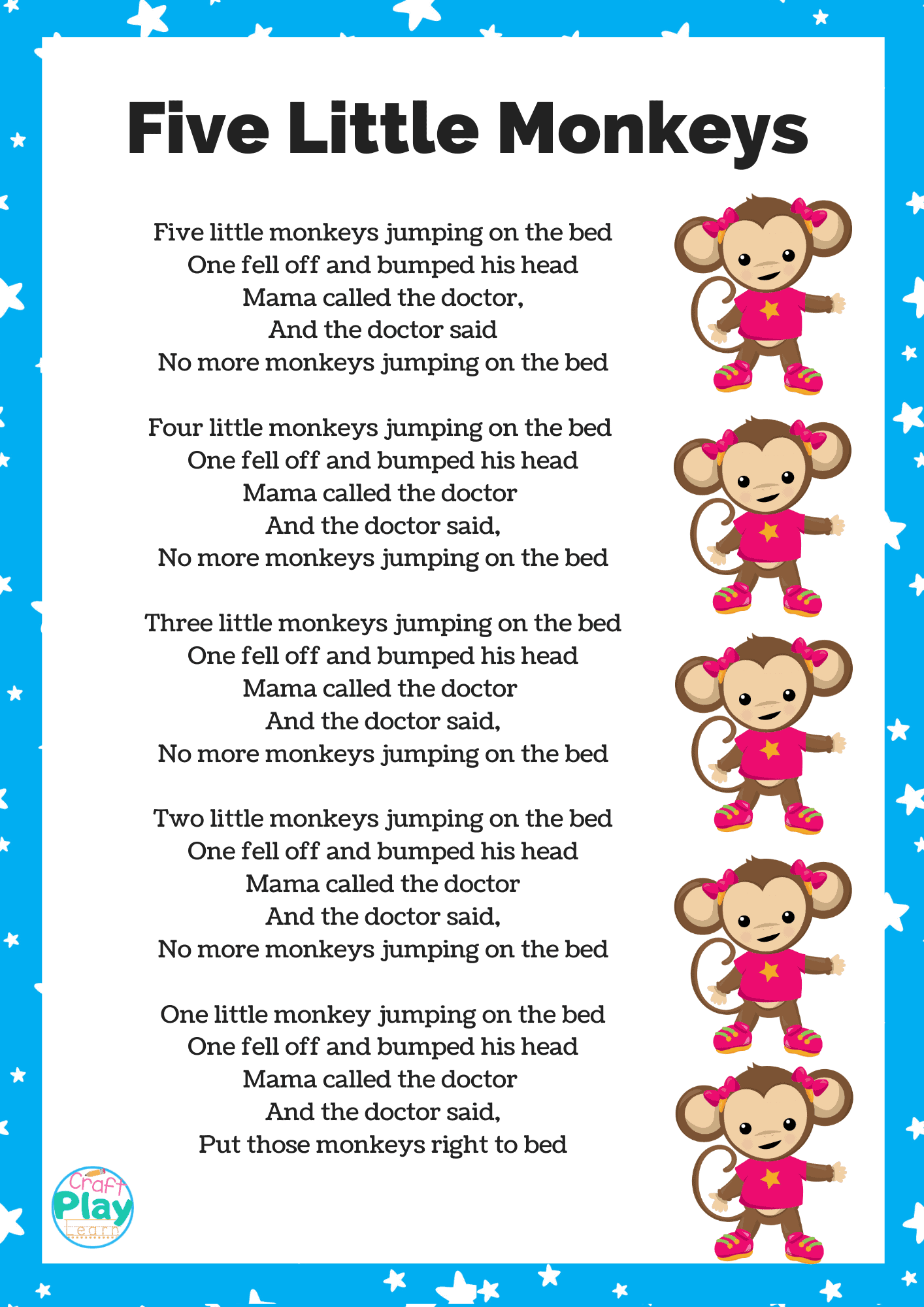 Five Little Monkeys Printable And Activity Ideas Craft