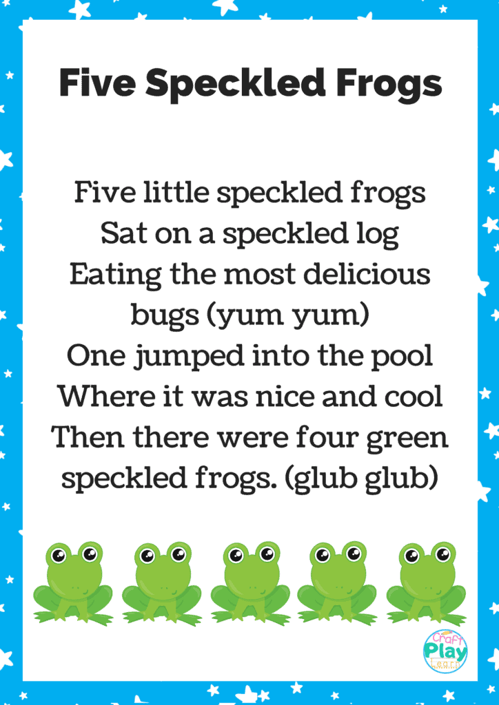 five speckled frogs printable sheet
