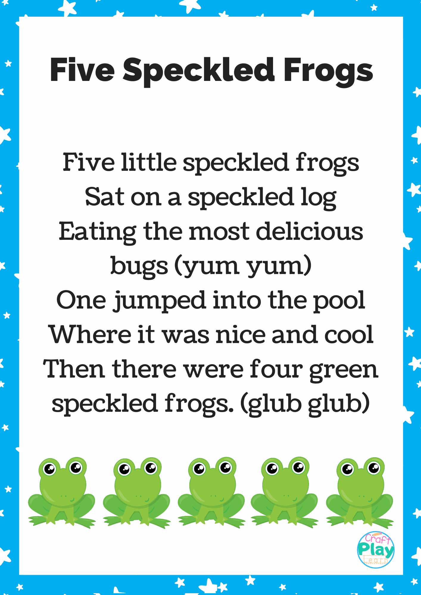 Five Speckled Frogs Printable And Activity Ideas - Craft Play Learn