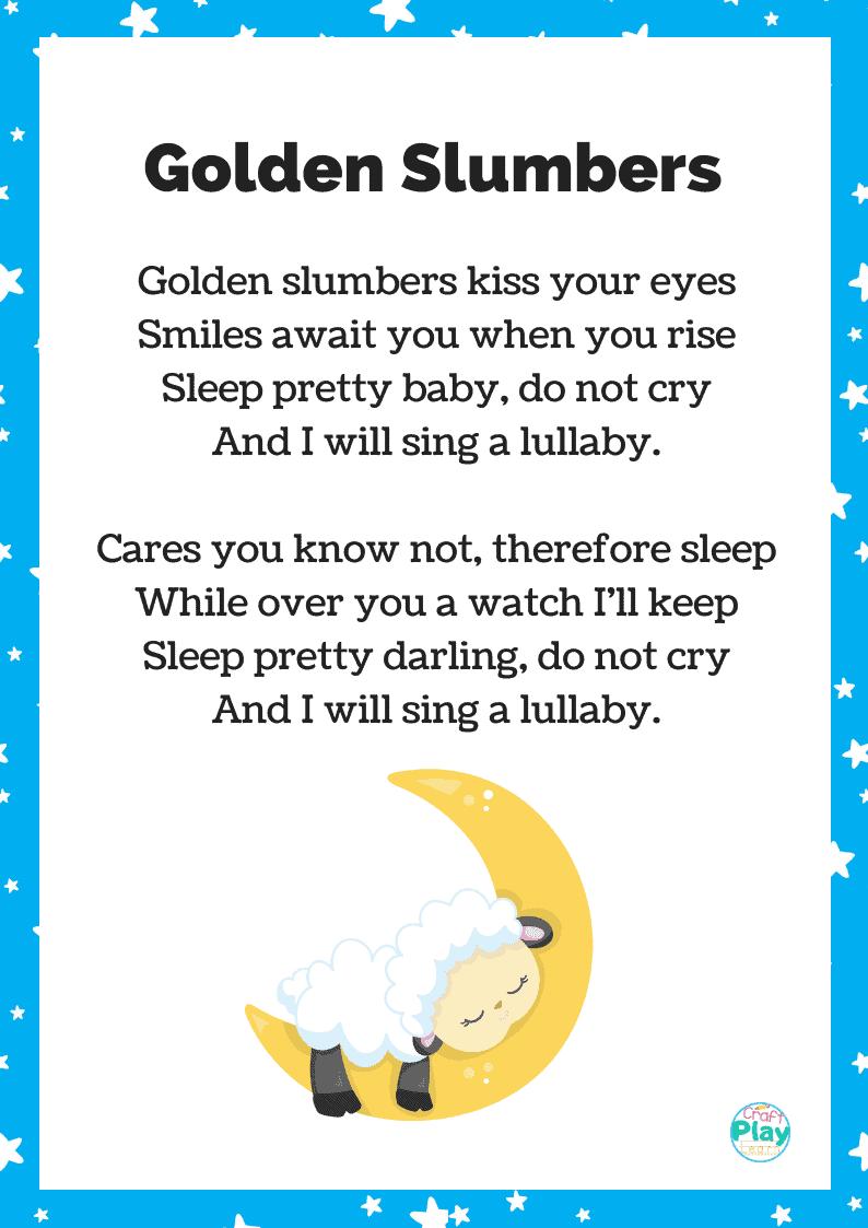 golden slumbers song printable