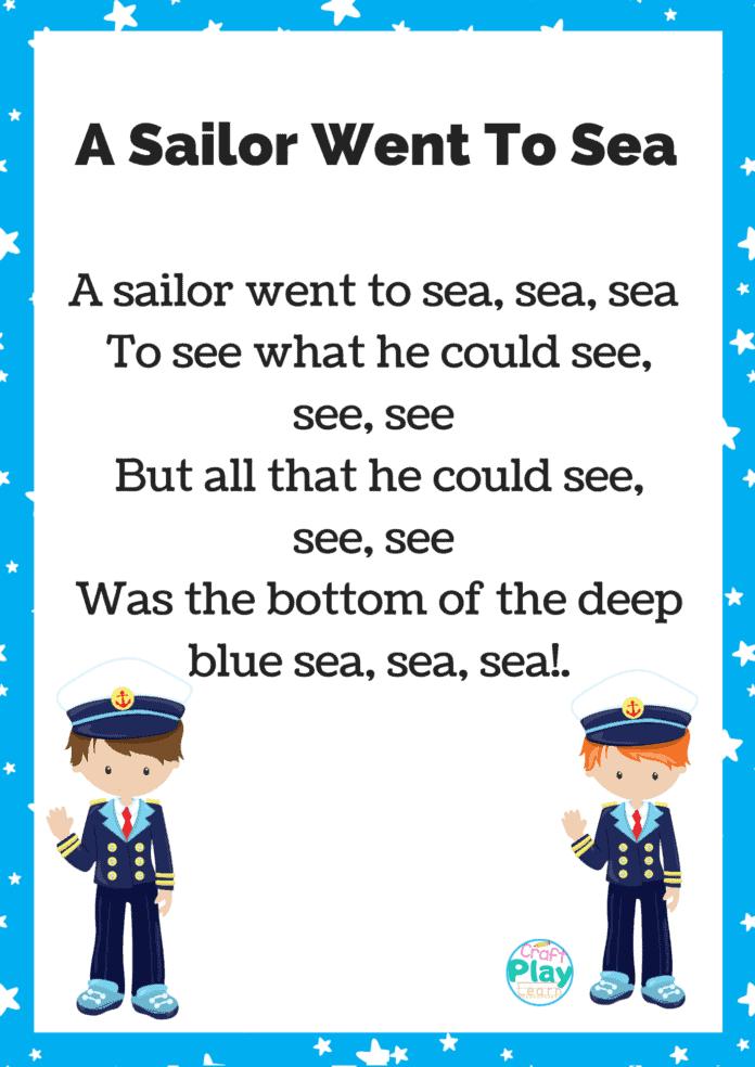 a sailor went to sea sea sea printable sheet