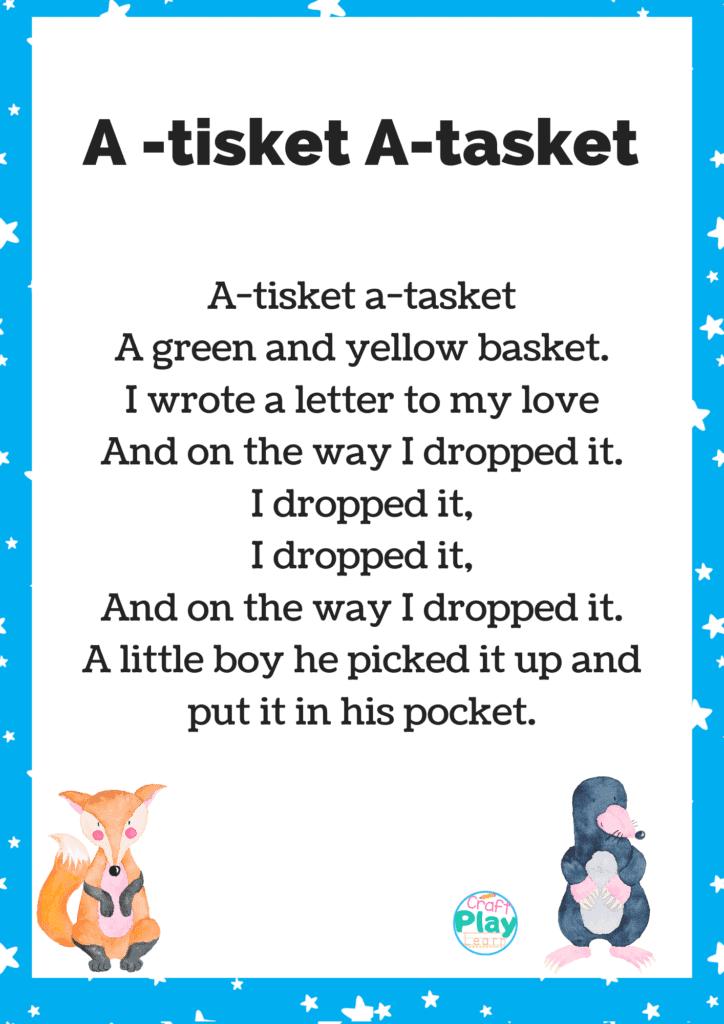 a tisket a tasket nursery rhyme printable