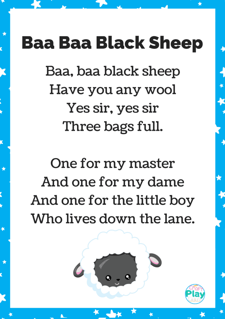 baa baa black sheep nursery rhyme printable