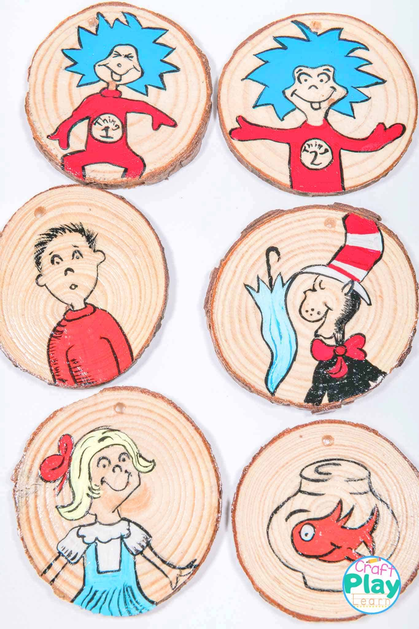 cat in the hat craft wooden slices