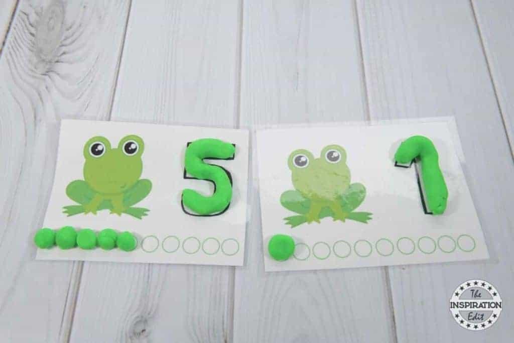 frog playdough mats