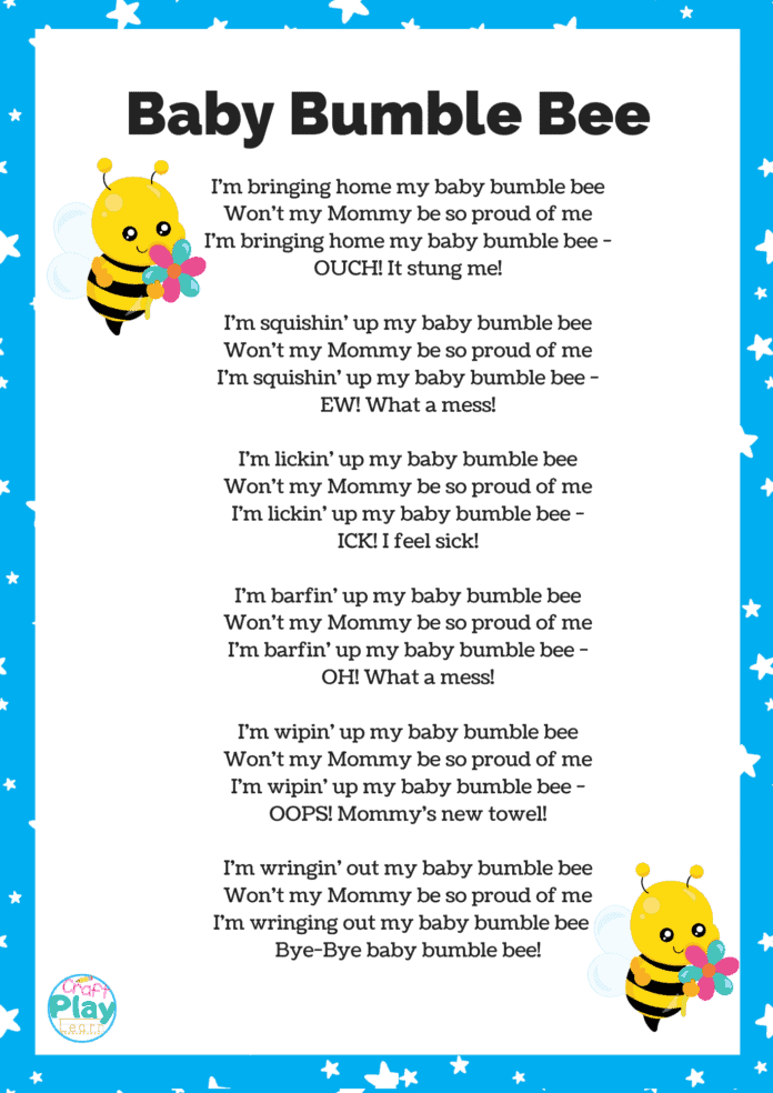 baby bumble bee song printable