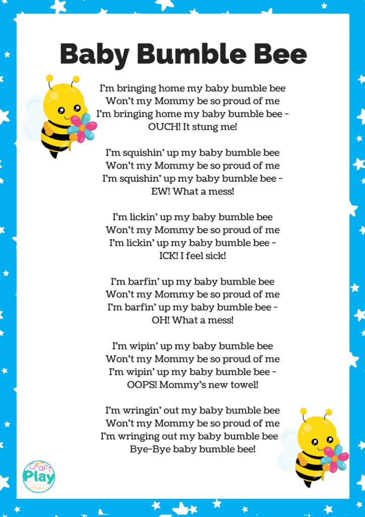 baby bumble bee song printable