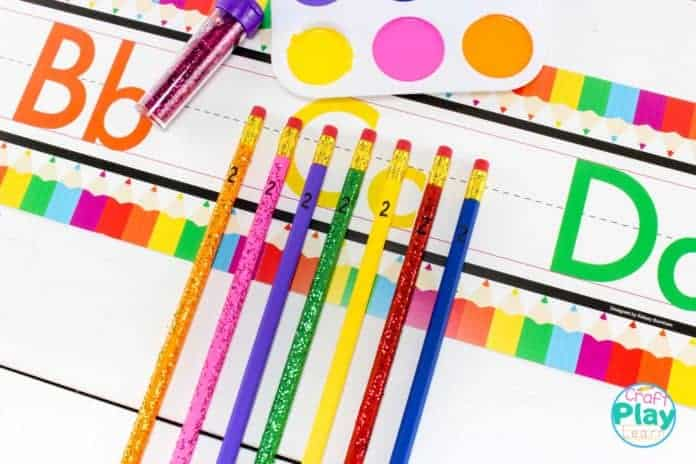 supplies for painting pencils with kids