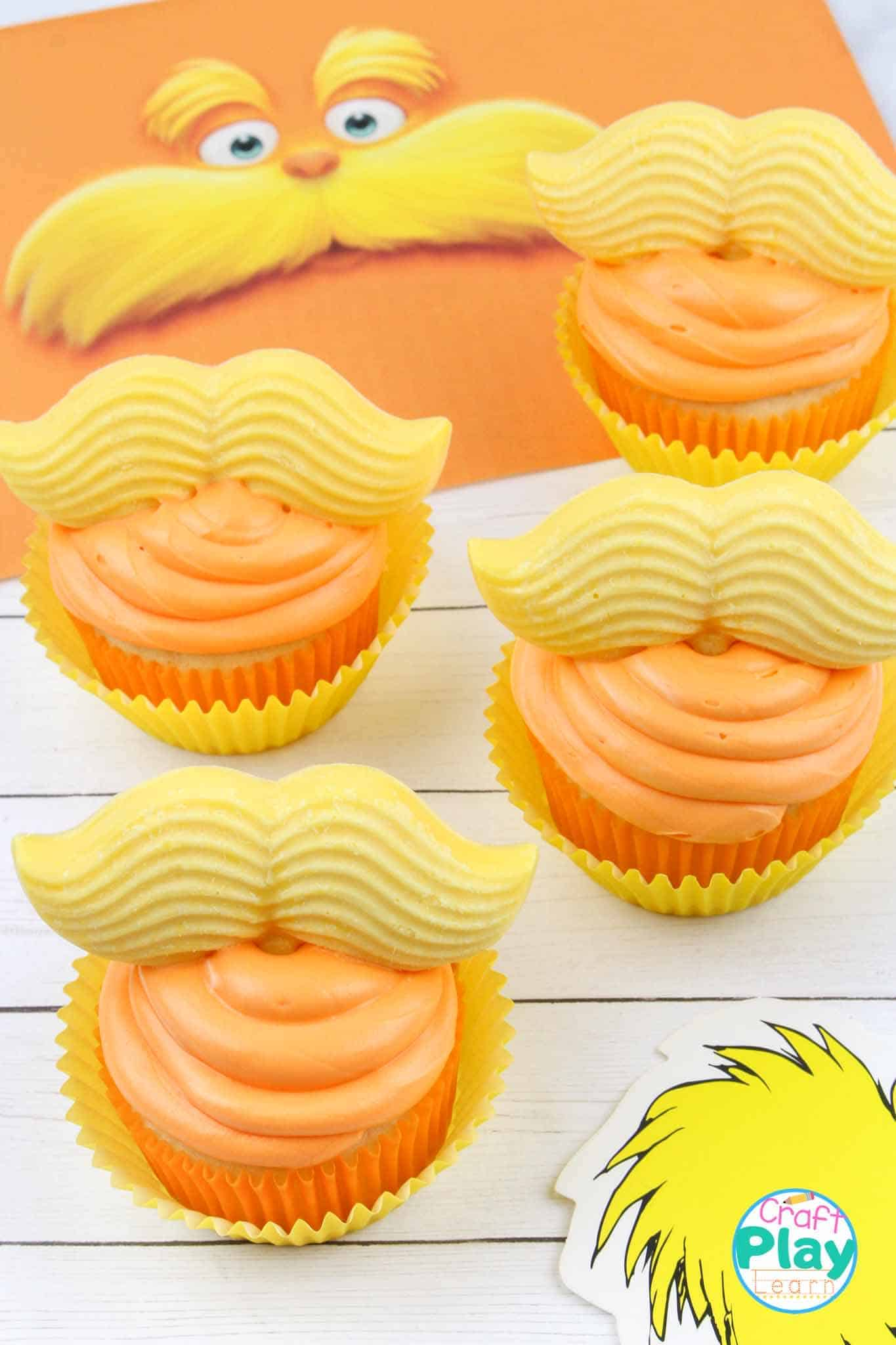 the lorax dr seuss cupcakes
