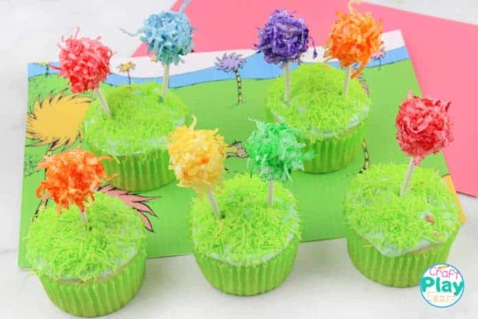 truffula tree cupcakes from The lorax book by dr seuss