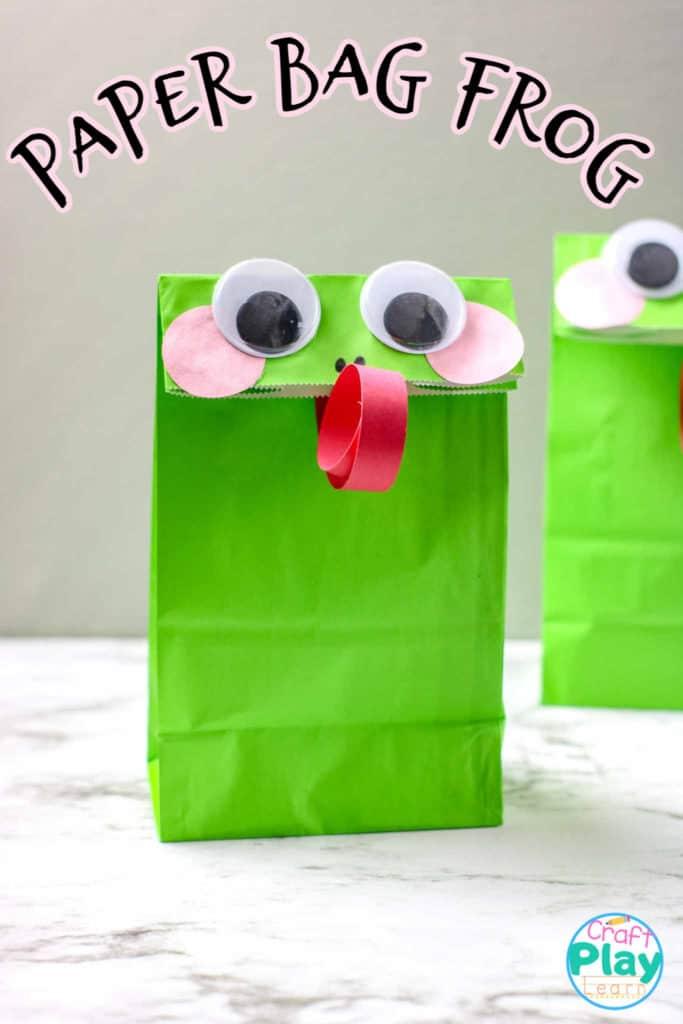 easy paper bag frog craft