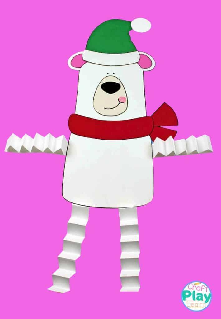 Polar bear paper craft with accordion legs