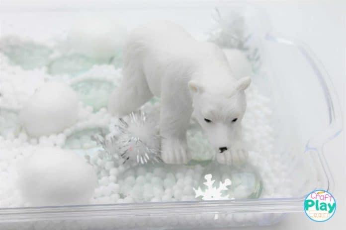 adding polar bear to sensory bin for preschool kids