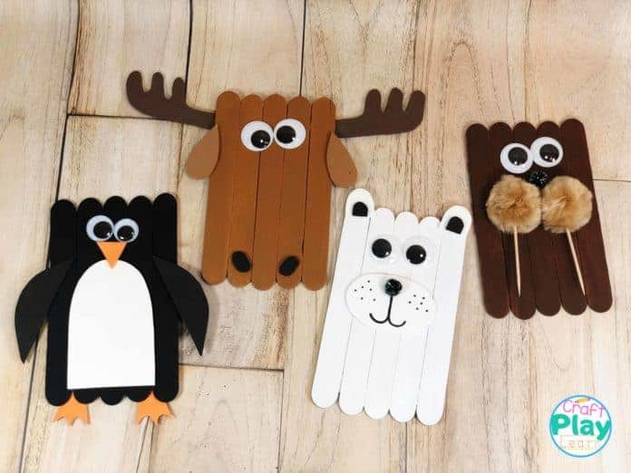 artic animals made from popsicle sticks