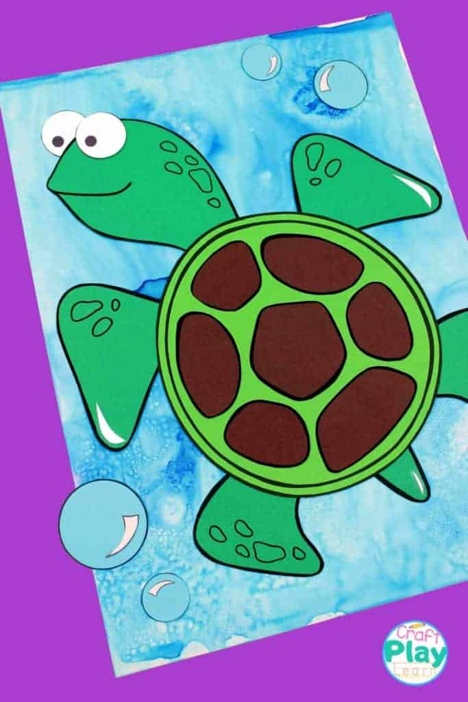 paper seaturtle craft on a watercolor background