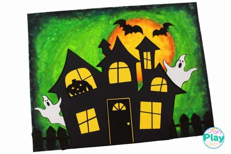 kids haunted house made with pastel colours