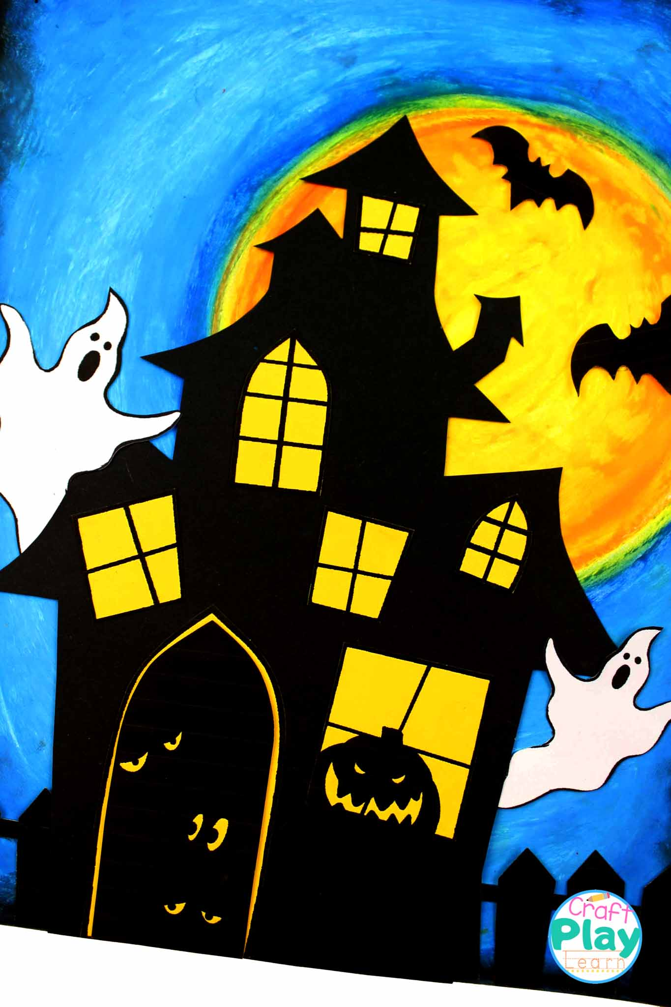 blue haunted house art