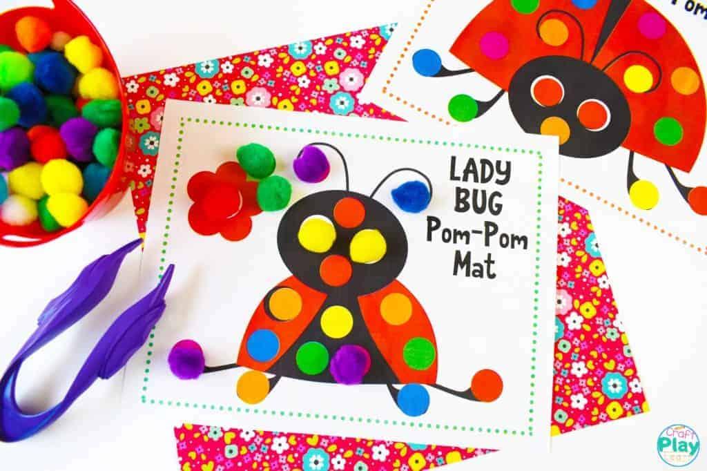 Lady Bug Pom Pom Mats