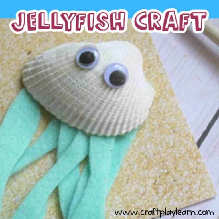 jellyfish craft made with a seashell and felt